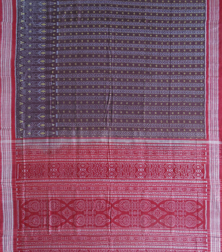 Auburn Maroon Ikat Cotton Handloom Saree