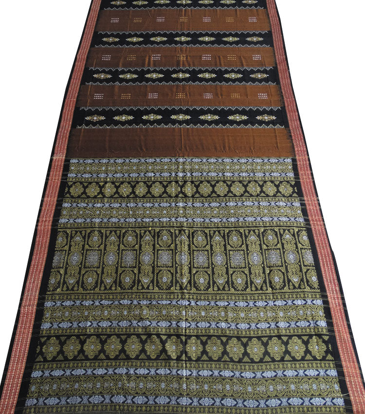 Cocoa Brown Bomkai Handloom Cotton Saree