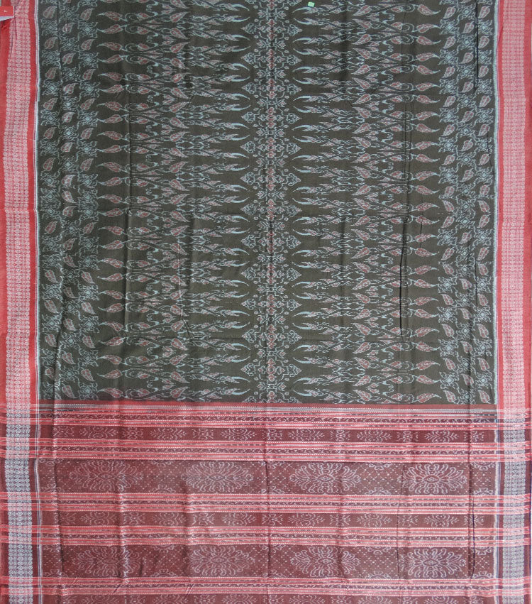 Army Green Ikat Cotton Handloom Saree