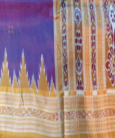 Purple and brick Nuapatna Khandua Silk Saree