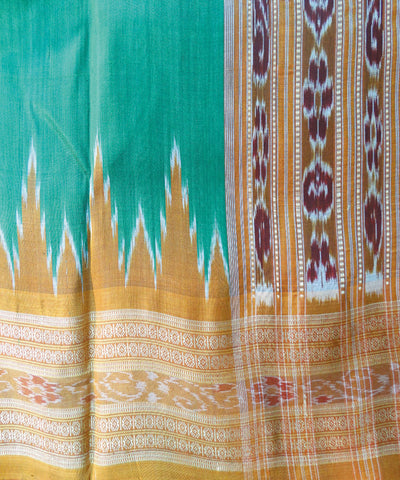 Green and Brick Nuapatna Khandua Silk Saree