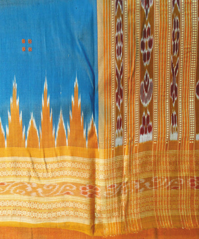 dark Blue and Brick Nuapatna Khandua Silk Saree
