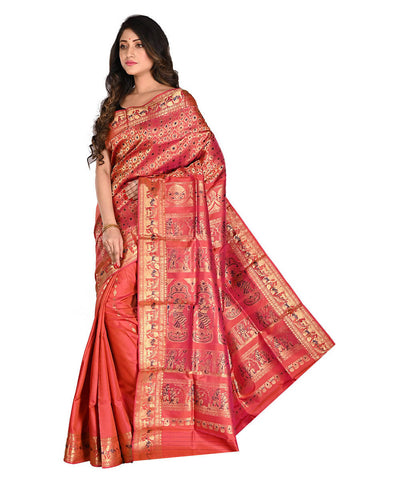 Bengal Red Handloom Baluchari Silk Saree