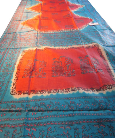Maroon and Blue Tussar Saree