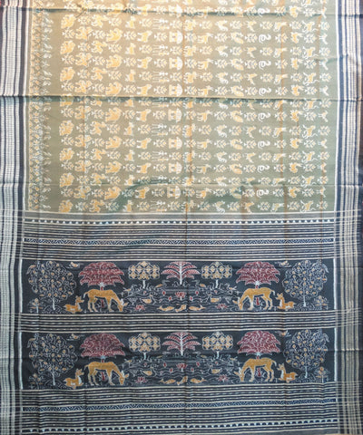 Brown and Black Tribal Sambalpuri Cotton Saree