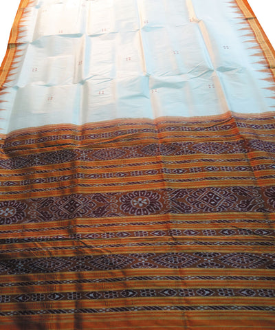 Cream and Brick Nuapatna Khandua Silk Saree