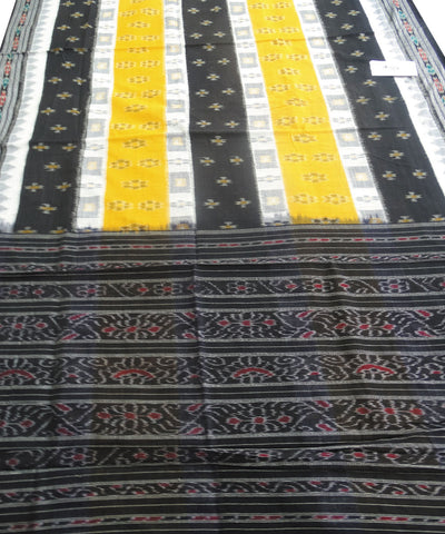 Yellow and Black Nuapatna Cotton Saree