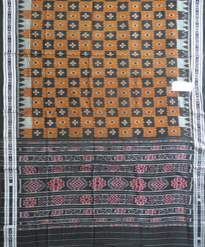 Orange and Black Nuapatna Cotton Saree