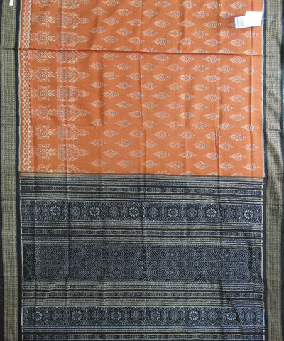 Brick and Black  Sonpuri Ikat Cotton Saree