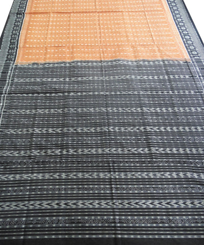 Brick and Black Sambalpuri Ikat Cotton Saree
