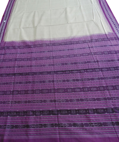 Cream and Purple Sambalpuri Ikat Cotton Saree
