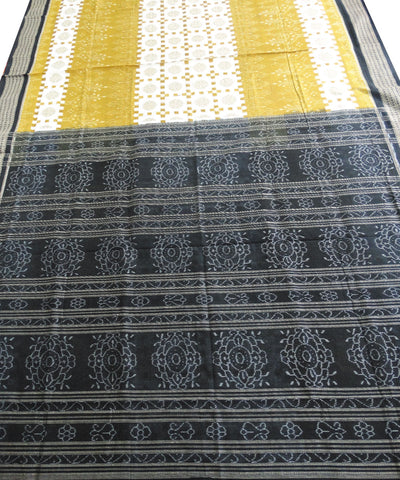 Yellow and Black Sonpuri Cotton Saree