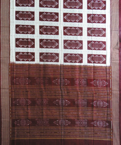 Cream and Maroon Sonpuri Pasapalli Cotton Saree