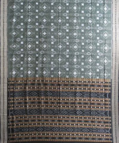 Grey and Black Sonpuri Pasapalli Cotton Saree