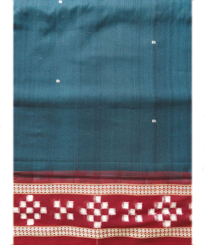 Dark Navy Blue and Maroon Sonpuri Pasapalli Cotton Saree