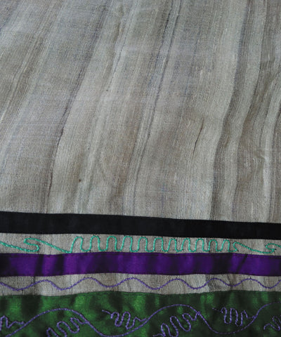 Cream & Green Embroidery Tussar Saree