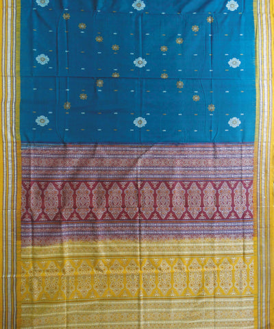 Green and Brick Bomkai Patli Cotton Saree