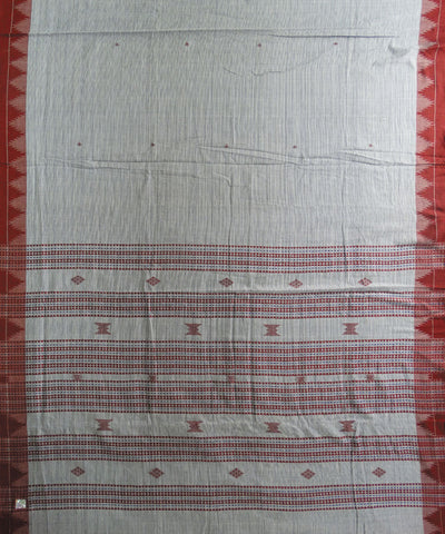 Cream and Maroon Tussar kotpad Saree