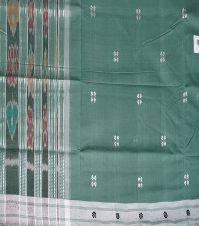 Traditional Dark Sea Green And White Berhampuri ikat tie And dye cotton saree