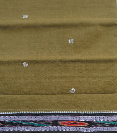 Traditional Drab And Black Berhampuri ikat tie And dye cotton saree