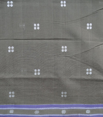 Traditional French Bistre And Violet Berhampuri ikat tie And dye cotton saree