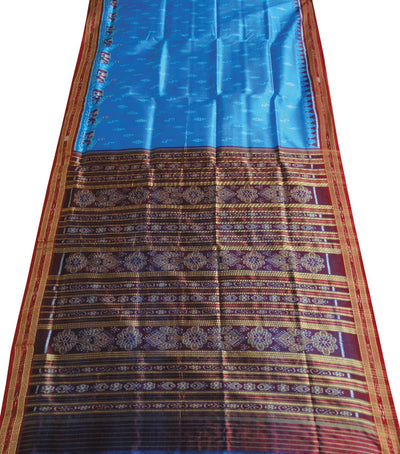 Exclusive Brilliant Azure And Maroon traditional Ikat tie And dye Khandua silk Saree