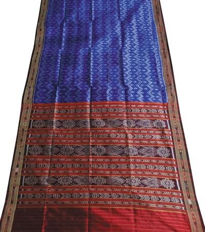 Exclusive Blue And Coffee traditional Ikat tie And dye Khandua silk Saree