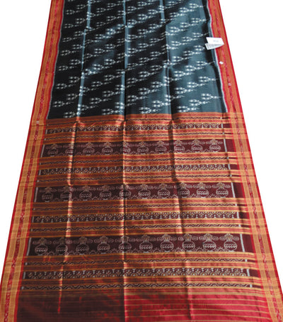 Exclusive Dark Jungle Green And Red tribal Ikat tie And dye Khandua silk Saree