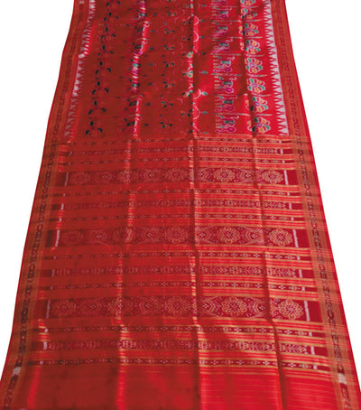 Exclusive Bright Red traditional Ikat tie And dye Khandua silk Saree
