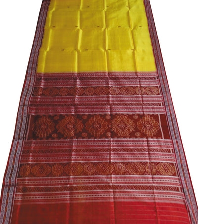 Exclusive Orange And Maroon traditional Ikat tie And dye Khandua silk Saree