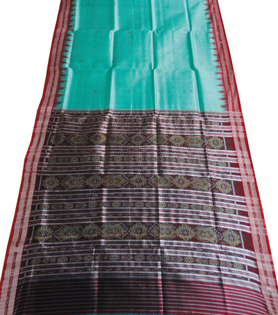 Traditional Caribbean Green And Red Ikat tie And dye Khandua silk Saree