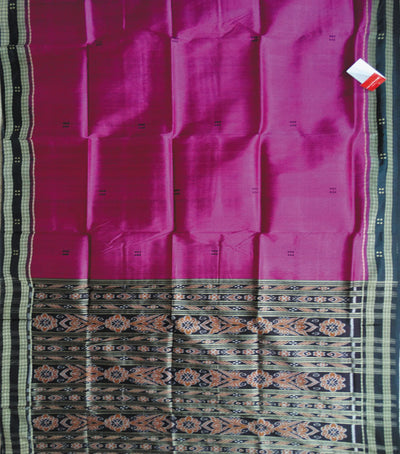 Traditional Purple And Black Ikat tie And dye Khandua silk Saree