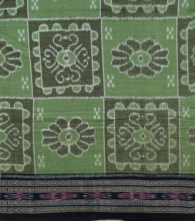 Nuapatna Apple Green And Black Traditional Ikat tie And dye cotton Saree
