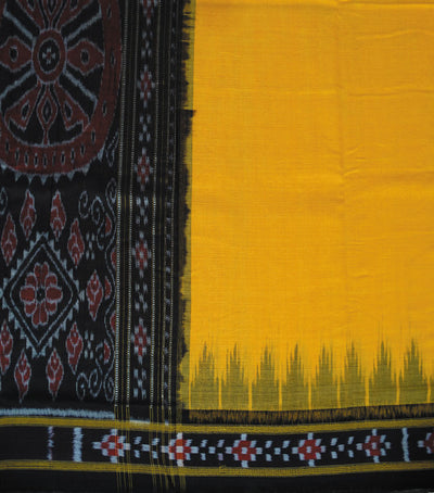 Nuapatna Orange And Black traditional Ikat tie And dye cotton Saree