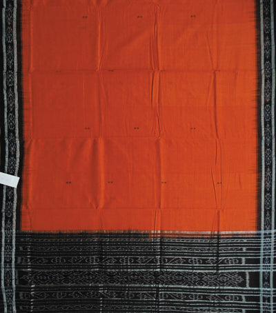 Nuapatna Brick And Black traditional Ikat tie And dye cotton Saree