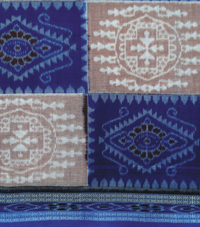 Nuapatna Sandal And Blue tribal Ikat tie And dye cotton Saree