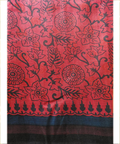 Red and Black Tussar Saree