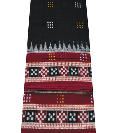 Exclusive Black And Maroon Traditional Bomkai And Ikat tie And Dye Cotton Saree