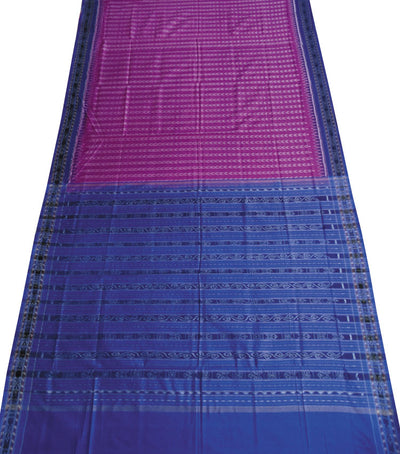 Exclusive Purple And Blue Sambalpuri Traditional Ikat tie And dye Cotton Saree