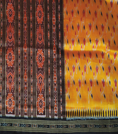 Traditional Orange And Black Ikat tie And dye Khandua silk Saree