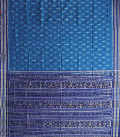 Exclusive Bright Navy Blue And Cerulean Blue Traditioanal Ikat tie And dye Sambalpuri cotton saree