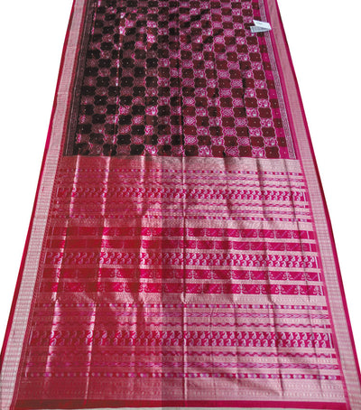 Exclusive Coffee And Barbie Pink Traditional Ikat Tie And Dye Silk Saree