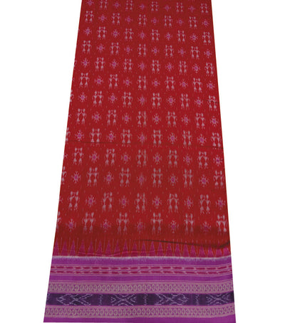 Exclusive Red And Pink Tribal Ikat tie And dye Sambalpuri cotton saree