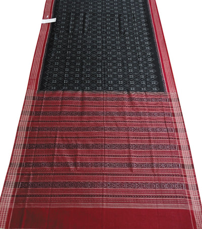 Black Maroon Ikat Sambalpuri cotton saree