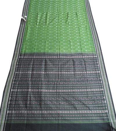 Exclusive Apple Green And Black Traditional Ikat tie And dye Sambalpuri cotton saree