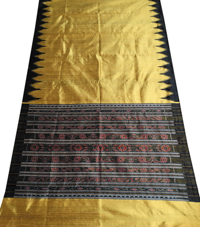 Shiny Golden And Black Traditional Ikat tie And dye Tussar Silk Saree