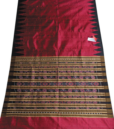 Shiny Maroon And Black Traditional Ikat tie And dye Tussar Silk Saree