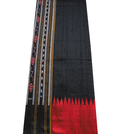 Shiny Black And Red Traditional Ikat tie And dye Tussar Silk Saree