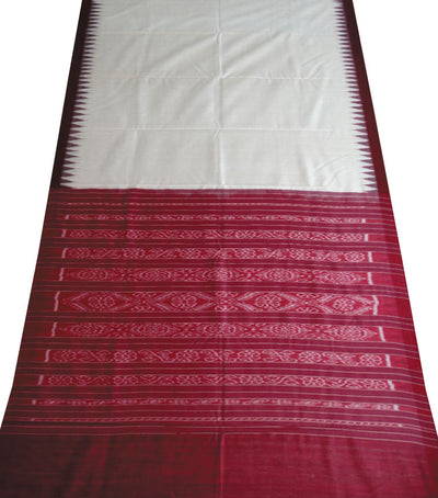 Traditional Cream And Maroon Tussar Silk Saree