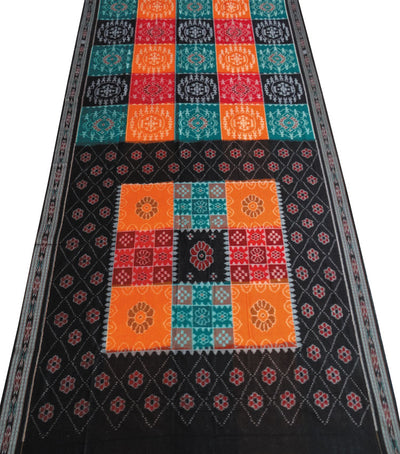Exclusive Nuapatna Multi colour And Black Ikat Tie And Dye Traditional Cotton Saree